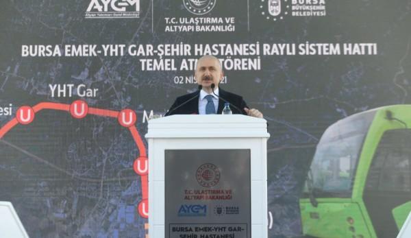 Bursa Emek-YHT Gar-Şehir Hastanesi Metro Hattı'nın Temeli Atıldı