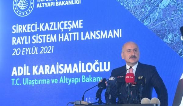 Ulaştırma Bakanı Karaismailoğlu: Kazlıçeşme-Sirkeci Raylı Sistem Hattı İstanbul'a Değer Katacak